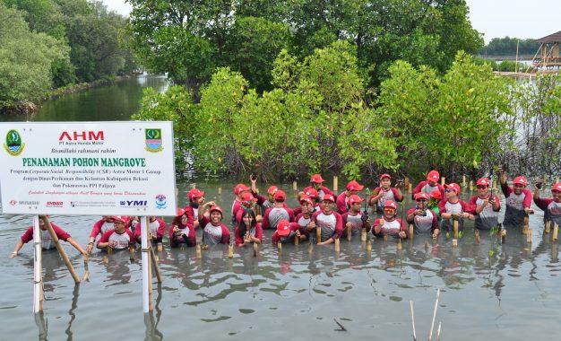 Berharap Ekonomi Masyarakat Meningkat, AHM Tanam Mangroove di Pesisir Pantai Utara Bekasi